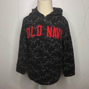 Old Navy Logo-Graphic Zip Hoodie black dino 5T